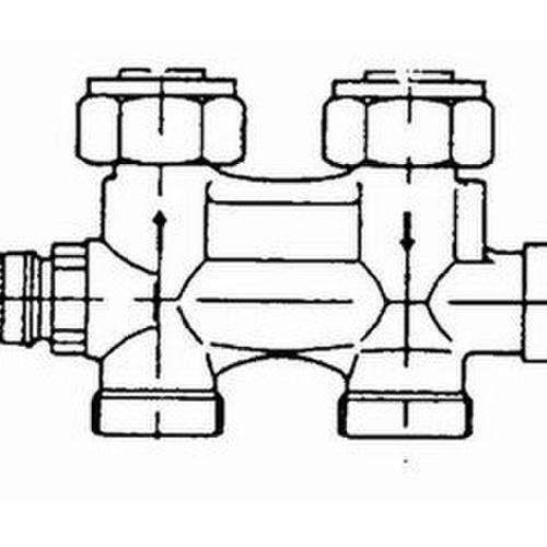 Danfoss Anschlussarmatur VHS-E für Einrohrheizung, R 1/2, Durchgang... DANFOSS-013G4692 5702420046716 (Abb. 1)