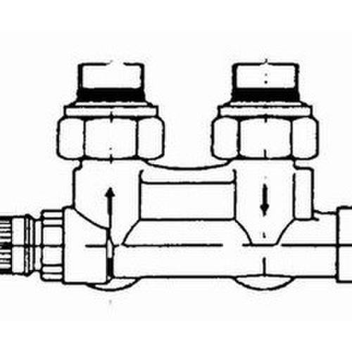Danfoss Anschlussarmatur VHS-UR Heizkörper R 1/2, Eck, vernickelt... DANFOSS-013G4689 5702420052335 (Abb. 1)