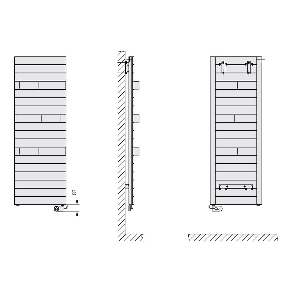 Kermi Tabeo-E BH1437x101x500mm circonsilber, WFS rechts... KERMI-TBE10150050TFXK  (Abb. 3)