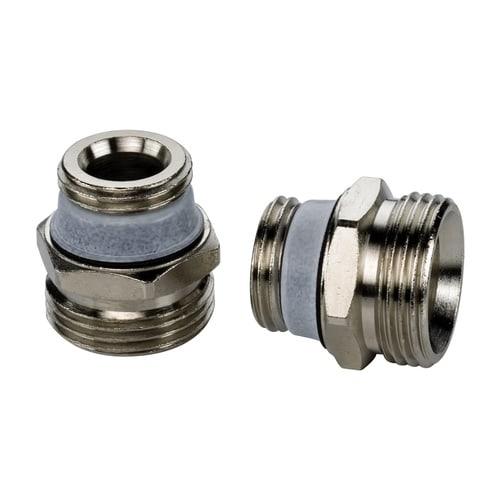 Simplex Anschluss-Set D5 (2 St.) G1/2a x G3/4a Eurokonus Messing vernickelt selbstdicht... SIMPLEX-F10391 4013852204331 (Abb. 1)