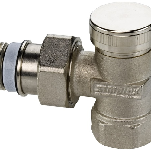 Simplex Rücklaufverschraubung mit Entleerung Eck Typ M G3/8a x Rp 3/8″ Messing vernicke... SIMPLEX-F11905 4013852211230 (Abb. 1)