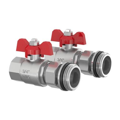 Simplex Verteileranschluss-Set BASIC waag. DN20 G3/4i x G1a Messing vernickelt... SIMPLEX-F14018 4013852266131 (Abb. 1)