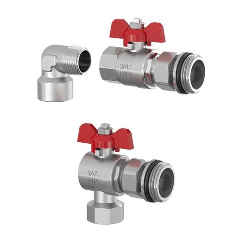 Simplex Verteileranschluss-Set BASIC senkr. DN20 G3/4i x G1a Messing vernickelt... SIMPLEX-F14019 4013852266148 (Abb. 1)